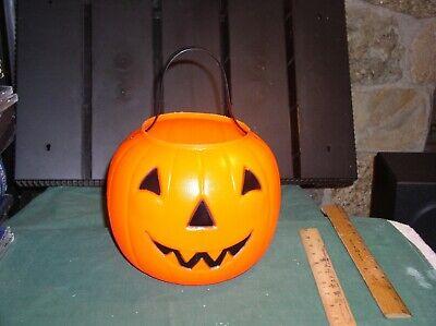EMPIRE Plastics ORANGE Jack o Lantern Bucket Halloween Blow Mold Exc ++