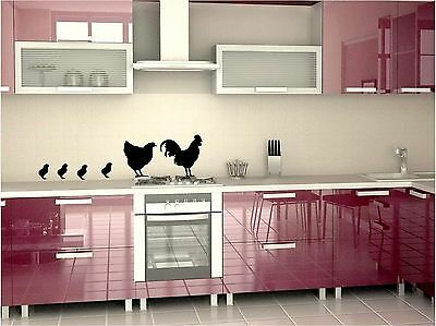Country kitchen chicken family wall art decals in 8 colors