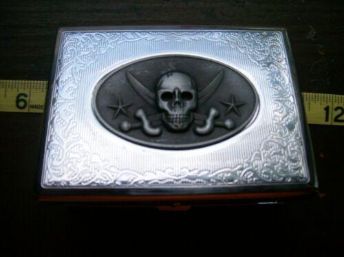 VINTAGE CHROME CIGARETTE/BUSINESS CARD CASE SKULL & CROSSBONE BEAUTY !!