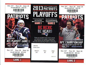 New England Patriots 2014 Full Ticket Stub Colts Playoff AFC Championship Phantm
