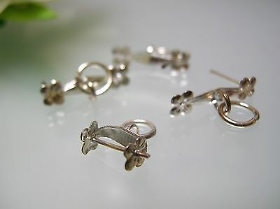 Flower Jump Ring - Pendant beads Pinch finding USA Silver Plated small flower design open jump ring