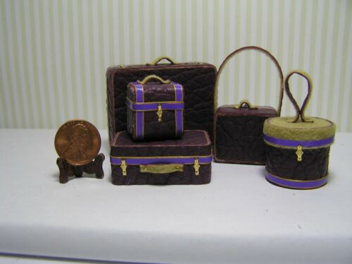 Miniature Dollhouse 5 Pc set Eggplant leather-like Luggage w/ purple trim  1:12