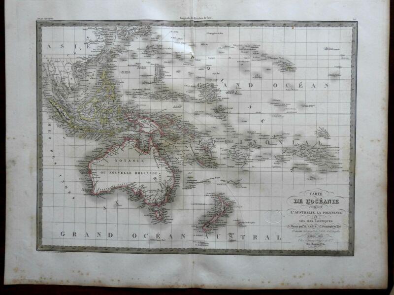 Oceania Australia New Zealand Malaysia Philippines 1829 Lapie large folio map