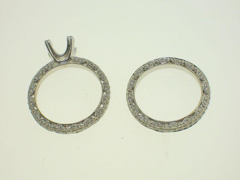 Hq 18k White Gold Semi-mounting Set 1.30 Ctw Diamonds - 6.75 Us - Retail $3500