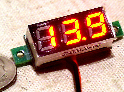Mini Small 3 Digit Red Led 2 Wire Autorange Digital Panel Voltmeter 3-30v Usa