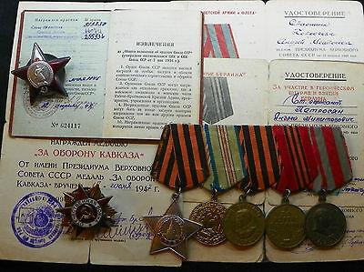 ORIGINAL SOVIET RUSSIAN SET GROUP PATRIOTIC WAR ORDER BADGE MEDAL WITH DOCUMENTS