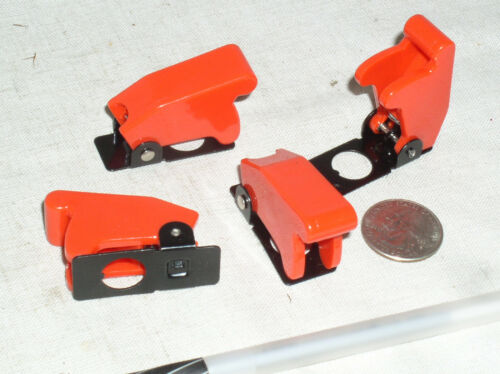 4 NEW RED TOGGLE SWITCH FLIP SAFETY COVER GUARD GUARDS MILITARY 1/2 INCH HOLE