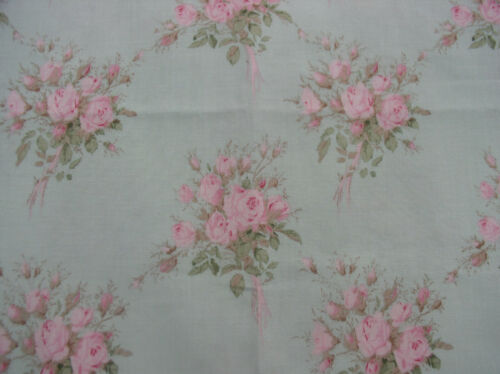 Yuwa Vintage Inspired Pink Rose Bouquets on AQUA Yd. Cotton Fabric 1 yd. HTF