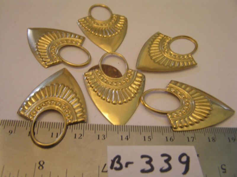 6 Vtg 48x33mm Brass Egyptian Look 20x15mm Oval Setting Jewelry Findings Stamping