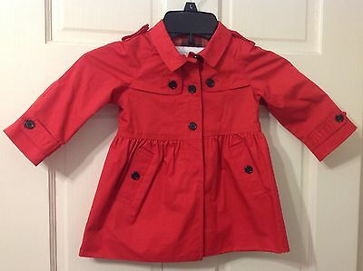 Burberry Infant Children Red Raincoat Jacket Jacket New Red 100% Cotton NWT 12M