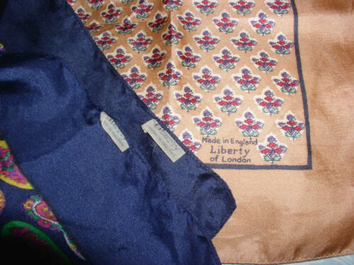 """3 Vintage Liberty of London England Silk Square Scarves 23"""" Scarf Paisley 1960s"""