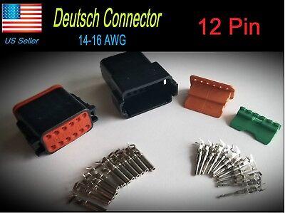 Black 12-pin Deutsch Dt06-12s Dt04-12p Waterproof Electrical Connector Set