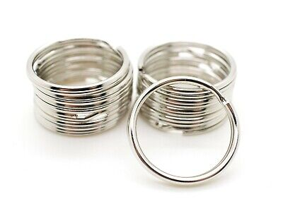 "WHOLESALE LOT 10 25 50 100 STURDY KEY RINGS SPLIT RINGS KEYCHAIN 28mm 1-1/8"" D"