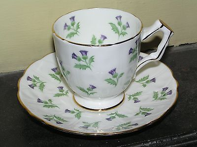 Aynsley purple thistle flowers green leaves pattern, Demitasse cup and saucer Purple Thistle