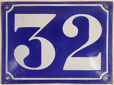 Large old French house number 32 door gate plate plaque enamel steel metal sign