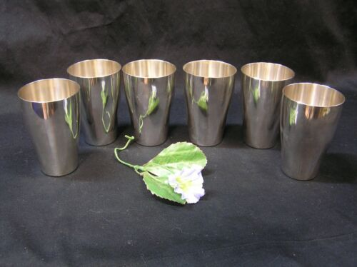 """Set Of 6 Vintage Art Deco Silver Plate WMF Cups  4."""" Tall"""