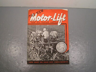 Motor Lift Case Farm Tractor Catalog Antique Old Vintage Steel Wheel