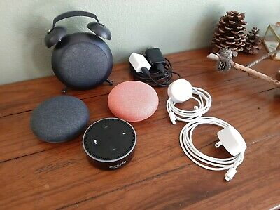 Lot of 3x Google Home Mini & 1x Alexa Smart Assistant - Bundle - Alarm Clock