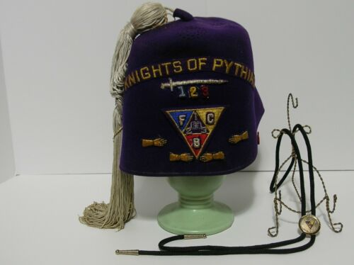 Vintage Wool Fez  Order Knights of Pythias & Bolo Tie