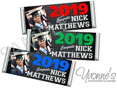 Graduation Photo Candy Bar Wrappers/ Party Favors - High School/College - Set 12](High School Graduation Parties)