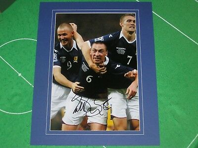 Celtic Legend Scott Brown Signed & Mounted Scotland Action Photograph