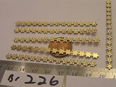 6 Vtg 73x5mm Bendable Brass Daisy Flower Band Wrap Jewelry Finding Stamping Lot