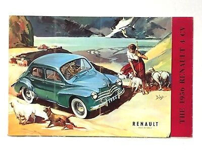 Vintage 1956 Renault 4 CV Dealer Sales Brochure Poster Sedan Convertible Feature