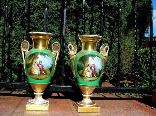 """C. 1820 FRENCH OLD PARIS PAIR OF HAND PAINTED PORTRAIT URNS - 13.5"""" H - B.OFFER!"""