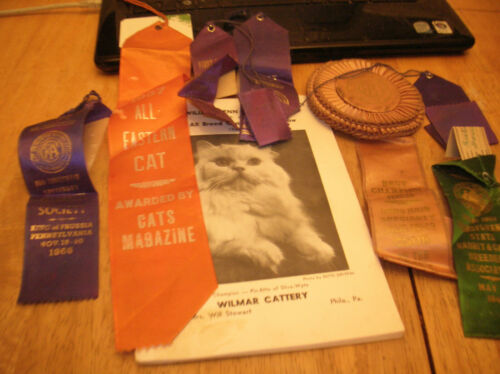 COLL OF VTG 1940S-1960S CAT SHOW AWARD RIBBONS AND 1960  WM PENN CAT CLUB BOOK