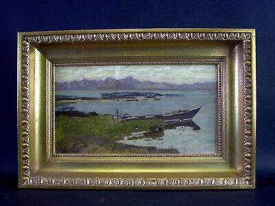 Heinrich DEUCHERT (1840-1923) - Fischerboot am Chiemsee - Ölgemälde auf Karton