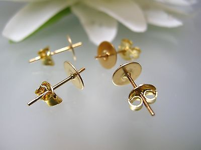 Gold-plated Cup (Gold plated 6 mm flat pearl cup earrings drilled setting / mounting USA made)