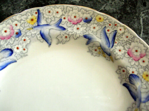 "Tuscan Bone China Blue Bird Pattern 8"" Plate from England"