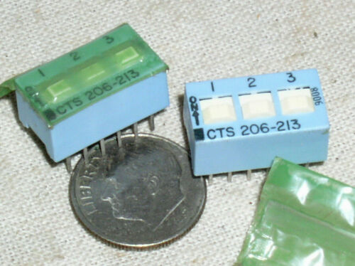 2 NEW SEALED CTS 206-213 GOLD 3/6 POSITION 3PST 12 PIN DIP SWITCH 3 DPST USA