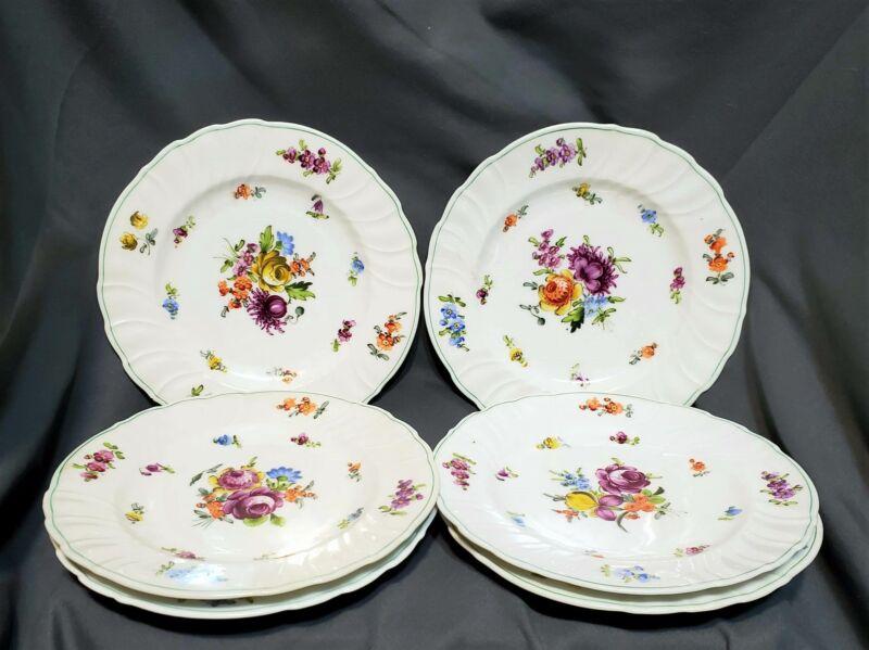 Antique Set 6 Limoges Dessert Plates Dresden Flowers Cowell & Hubbard Ahrenfeldt