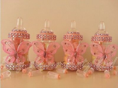12 Pink Butterfly Bottles Baby Shower Favors Prizes Girl Decorations - Baby Shower Bottle