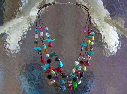 BEAUTIFUL 3 Strand Navajo Indian Fetish / Treasure Necklace Turquoise Benally
