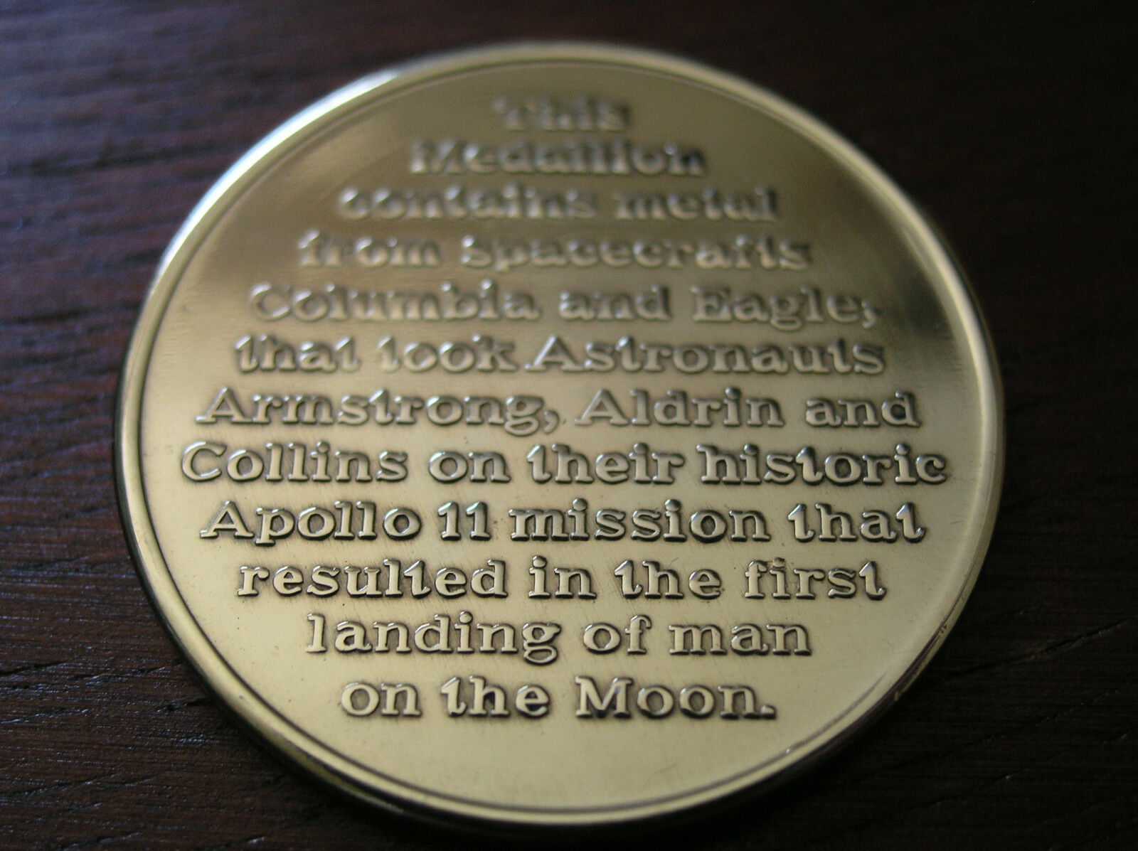 Flown Apollo 11 medal, **GOLD VIP EDITION** , MFA, VERY RARE!