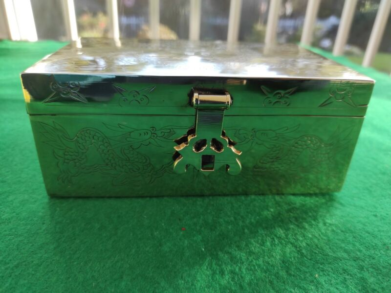 Vintage Chinese Engraved Brass Box - Dragon Motif