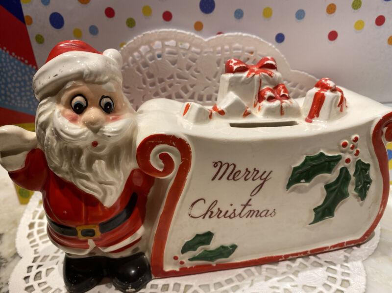 Vintage Santa Figurine MERRY CHRISTMAS Ceramic Decoration Figure Japan Bank🎄