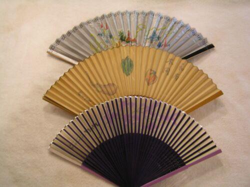 3pt8 😊 LOT OF 3 ASIAN JAPAN FOLDING HAND HELD FAN