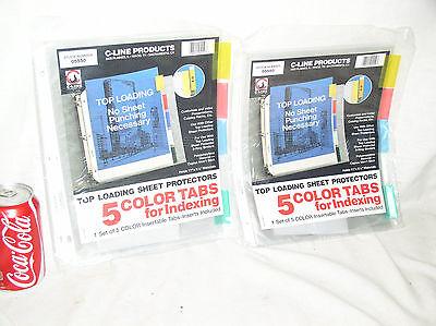 2 Pkg C-line Top Loading Sheet Protectors 5 Color Tabs Holds 8-12 X 11 05550