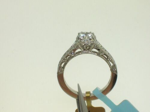 Tacori Platinum Halo Semi-mount 0.66 Ctw Diamonds - Size 6.5 Us-retail $5750