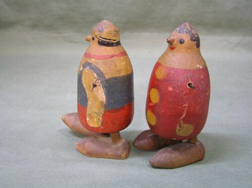 Vintage Walking Carved Wooden Penguin Or Clowns