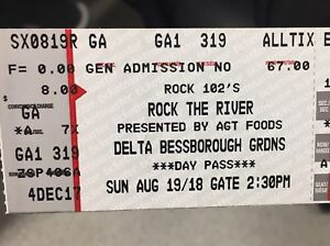 2 hard copy tickets ROCK THE RIVER  Sunday August 19