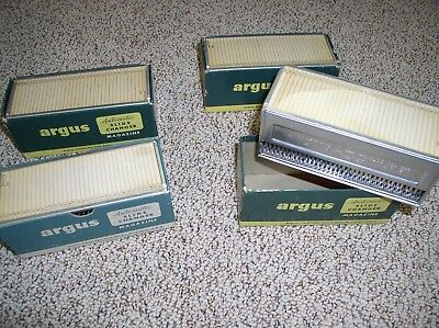 4 Vintage Argus Automatic Slide Changer Magazines #593 Empty, With Boxes & Lids