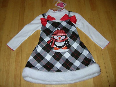 Girls Youngland Baby Jumper Dress NWT 24M Penguin Faux Fur  (Penguin Baby Dress)