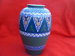 Rare-Art-Deco-Kinkozan-Vase-Hand-Painted-Geometric-pattern-Japan-Japanese