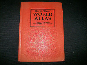 1937 rand McNally WORLD ATLAS Woodmen of the world VINTAGE WITH  NICE PAGES