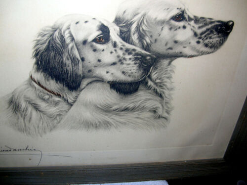 """Leon Danchin French Artist Signed/Numbered Etching Framed.English Setter 23""""x26"""""""