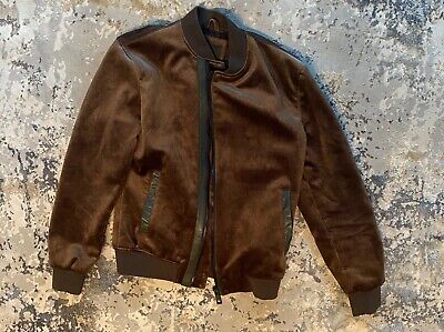Men Brown Velvet Bomber Jacket with Black Leather Trim and Zippers Medium NEW